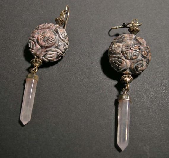 Vintage Rose Quartz  Asian Chinese Dangle Earrings