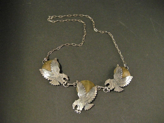 Native American Navajo Necklace w/ Eagle Design Sterling Silver and Polished Brass Signed Spencer
