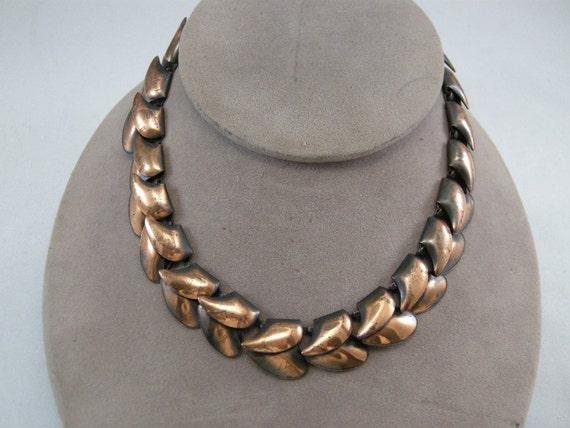 Vintage Mid Century Copper Leaf Necklace