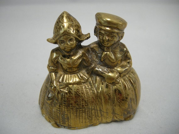 Vintage Brass Bell Dutch Boy and Girl