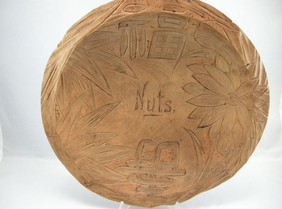 Engraved Pyrographic Wooden Nut Bowl,Treenware Asian Pyrographic Nut Bowl, AmericanaWooden Nut Bowls, Vintage Treenware,Treenware USA ONLY