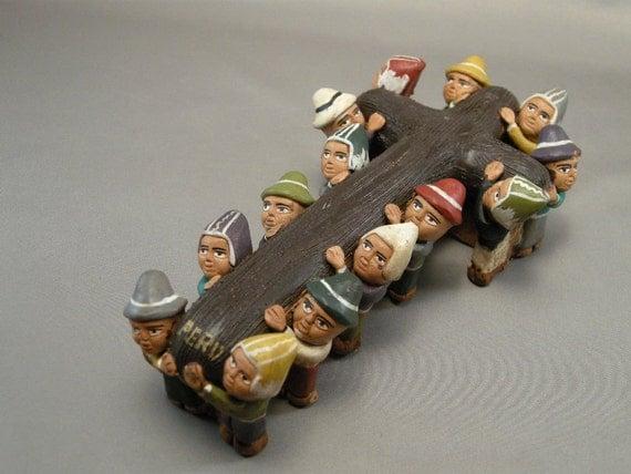 Vintage  RETABLO Ayacuho Peru Folk Art Cross Carried by 14 Males