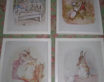 Beatrix Potter Unframed prints, Peter Rabbit and Benjamin Bunny etc.