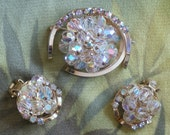 Vintage Aurora Borealis Rhinstone and Faceted Crystal Demi Parure Brooch Earrings