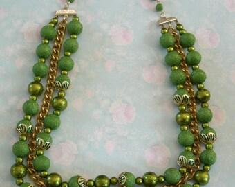 Vintage Multistrand JAPAN Green Beaded Necklace