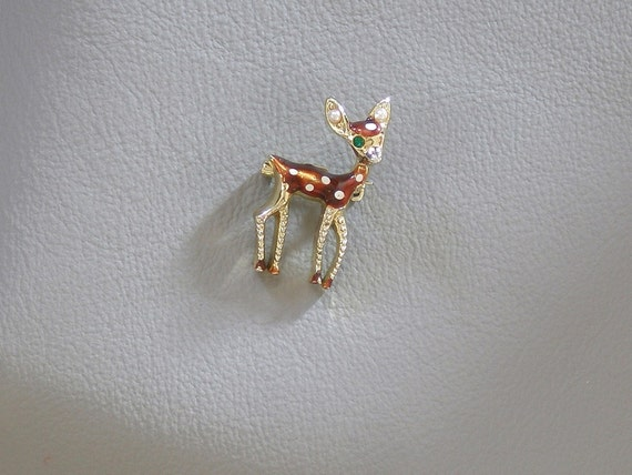 Vintage Bambi Deer Figural Pin Brooch with Rhinestone and Faux Pearls