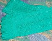 Vintage Woollen Scarf - Jade Green and Silver
