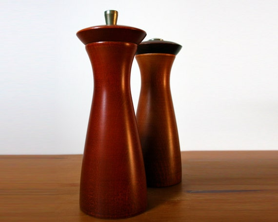 Mid-Century Modern Teak Pepper Grinder and Salt Shaker // Made in England by Verity Southall Ltd.