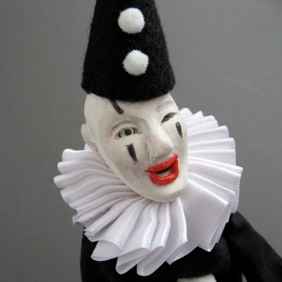 Circus Time - Laughing Clown - SALE - One of a Kind Doll - OOAK - Art Doll - Scary - Mime