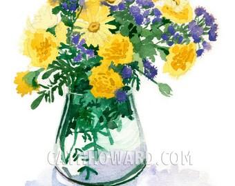 Purple Gold - watercolor