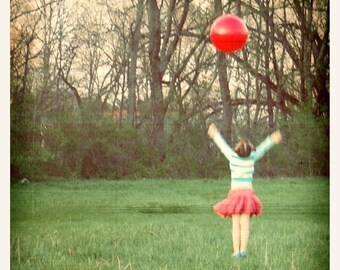 Joy Fine Art Print--Red Ball Little Girl Green Pink Cheerful Childhood Happy Joyful Celebration Wholesale
