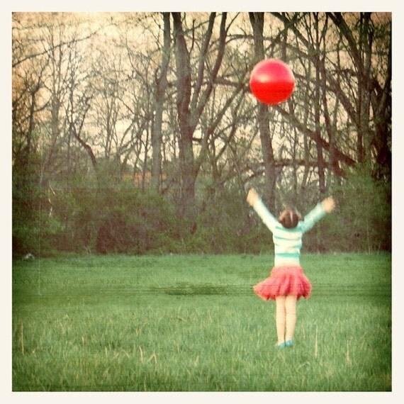 Joy Fine Art Print--Red Ball Little Girl Green Pink Cheerful Childhood Happy Joyful Celebration Wholesale