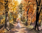 Woods Watercolor Print- Trees- Orange, Yellow, Red Leaves- 5x7- Watercolour- Landscape