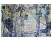 Shakespeare Sonnet 73 Collage, Blue Aspen Trees- Mixed Media on Paper- Bare Ruined Choirs, Poetry Art, Sonnet  lxxiii- 15x22- Donation