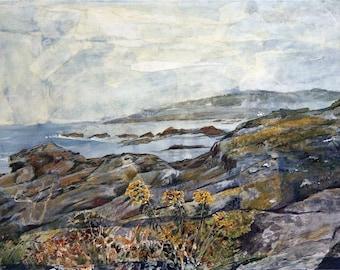 Seacoast  Watercolor Print- Maine Beach- Realistic Landscape- Watercolor Collage- 5x7-  Horizontal