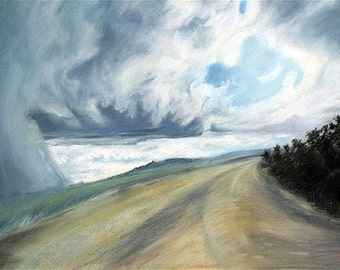 Roadway Pastel Print- Stormy Blue Sky- White Clouds- Golden Road -Surreal Landscape- 6x9-Horizontal