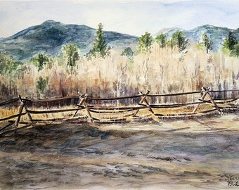 Mountain Fence Print- Colorado Landscape- Watercolor-Realistic- 5x7- Horizontal