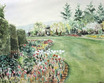 Greenery Garden Watercolor Print -Red White Flowers on Green Lawn- Realistic Landscape - 5x7- Garden Art- Flower Print-  Horizontal