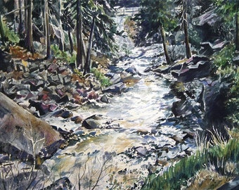 Mountain Watercolor Print- Snowmelt- 7x10- White, Black, Green- Rocky Mountain Stream- Estes Park- Colorado-  Horizontal