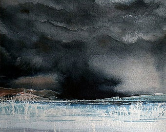 Black Storm Watercolor Print- Black Clouds- Colorado Skies- 5x7- Chance Of Storms- Night Sky- Watercolour- Vertical
