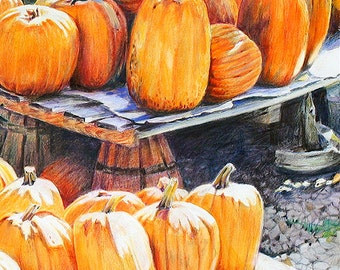 Pumpkin Print- Orange Fall Art - Colored Pencil Drawing- Realistic Landscape- 8x10