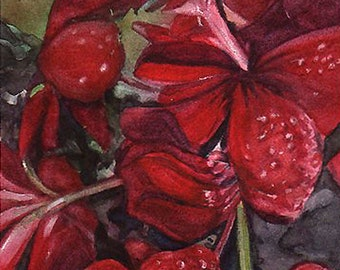 Red Flower Print- Watercolor- Garnet, Crimson- Realistic Floral Art- Geraniums- Vertical