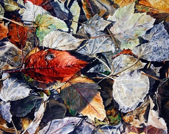 Leaves Watercolor Print- Photo Realistic- 9x12- Red Grey Blue- Award Winning- Fine Art- Watercolour- Hidden Treasure-  Horizontal