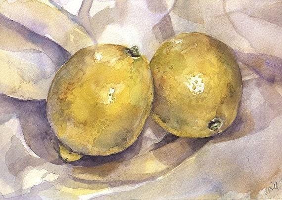 Lemons Reproduction Print- Yellow Watercolor -Realistic Still Life- 5x7