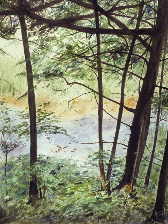 Watercolor River Print-  Summer Green- Realistic Landscape- 5x7- Trees and Water