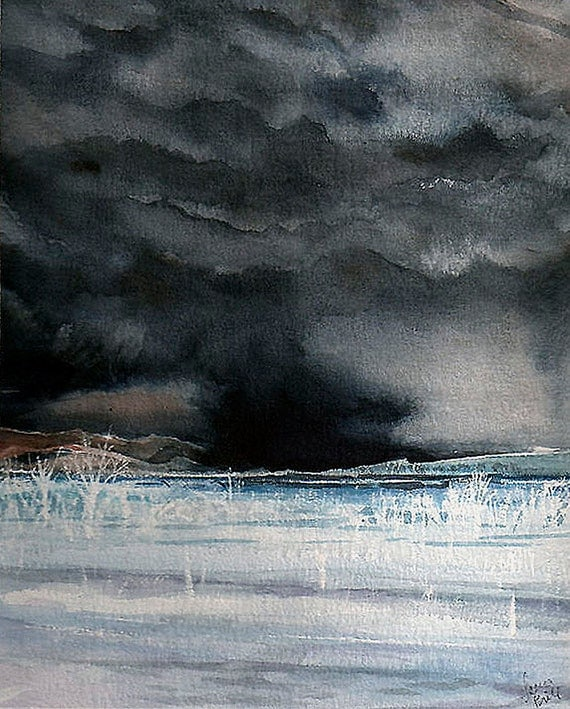 Black Storm Watercolor Print- Black Clouds- Colorado Skies- 5x7- Chance Of Storms- Night Sky- Watercolour