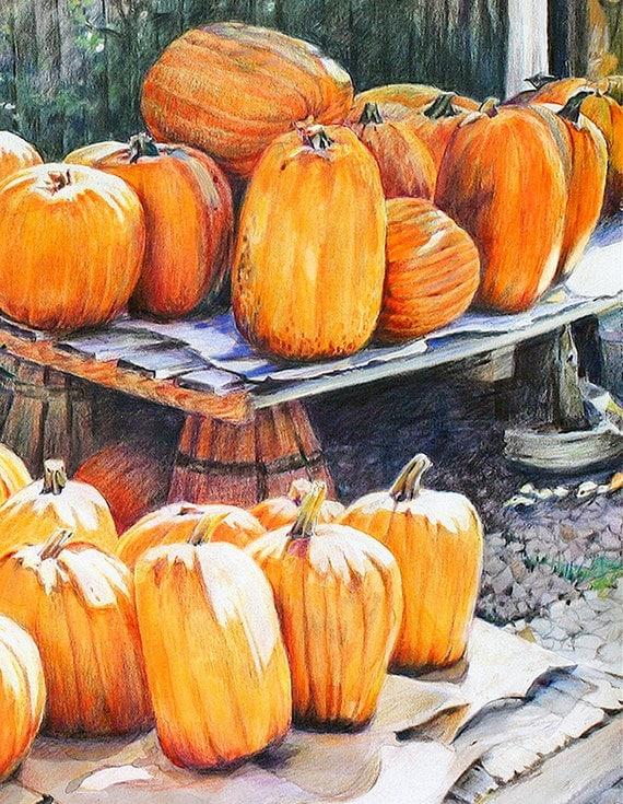 Pumpkin Print- Orange Fall Art - Colored Pencil Drawing- Realistic Landscape- 8x10