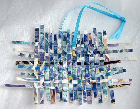 Blue Paper Weaving Square Original  Watercolor Mini Ornament