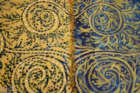 Shakespeare Sonnet 116 Collage Blue Gold  Original Mixed Media Love Poem