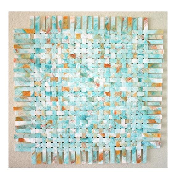 Turquoise Paper Weaving- Handwoven Art- Paper Art- Orange, Aqua, Mint- Contemporary- 18x18