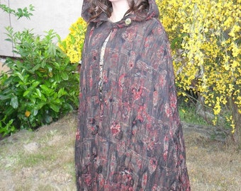 PRICE REDUCTION!-Beautiful Handmade, Reversible Cloak - Forest Green and Dark-Hued  Woven Fabric