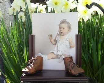 Photo Frame Bronzed Baby Shoes Vintage 1944
