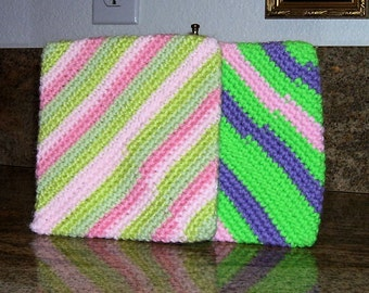 Crocheted Pot Holders lot of 3 Hand Crocheted striped Pot Holders