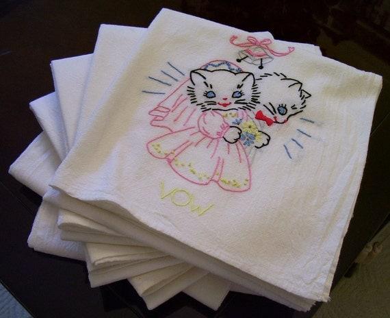 Vintage HAND EMBROIDERED Tea Towels Set of 6 1950s