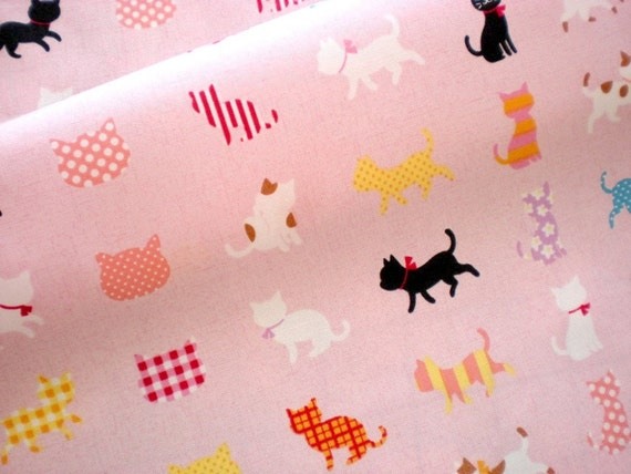 LAST ONE - Cute Japanese Fabric - Colorful Cats on Pink 32 inches