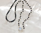 Blue Indian Sapphire and Rainbow Moonstone Necklace