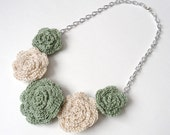 Sage Green and Cream Rose Bib Necklace