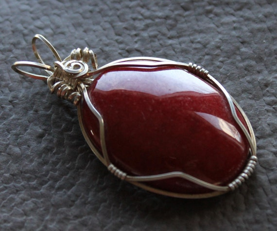 SALE. Red Mountain Jade and Sterling Silver Wire Wrapped Cabachon Pendant.  smaller size. Gifts for her under 20.
