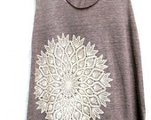 Lace Tank - Tri Blend Cotton, Hand printed, Racerback Tank, Adult Women, Lace Doily Print