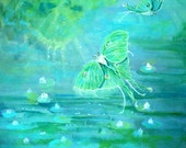 Art Original Acrylic Painting, Luna Fantasy,  Moths and Lily Pads with Light Reflection 20x20   I take CREDIT CARDS