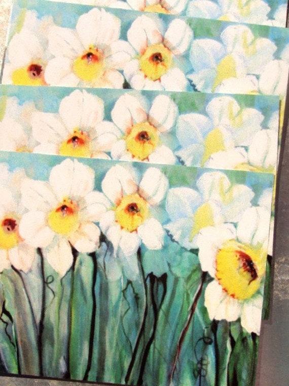 Pack of 4 New Art Cards taken From one of my Original Acrylic Paintings of Daffodils