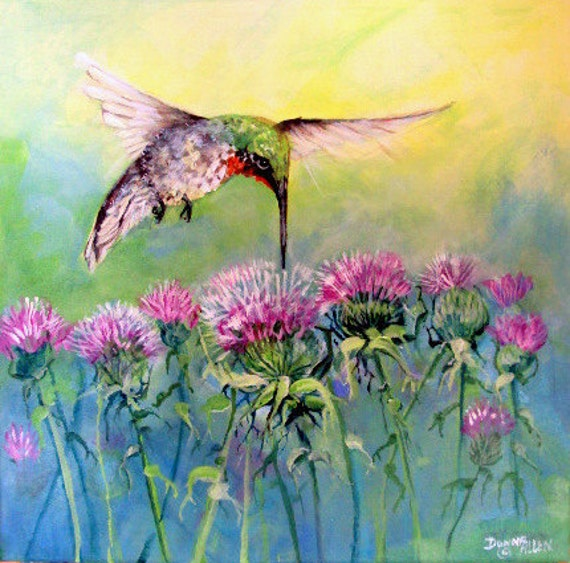 ART Hummingbird and Purple Thistle  Original Acrylic Painting 12x12 ,Ruby Throated         I take CREDIT CARDS