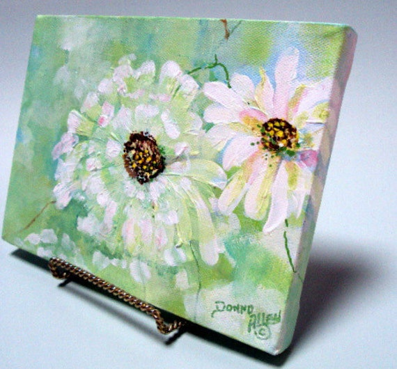 """ART Original Acrylic Floral Impression. Includes Displayl Easel, 6x8x3/4"""", on Studio Canvas  RESERVED for Loretta"""