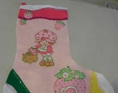 Stocking made with Strawberry Shortcake Bed Sheet not a licensed product