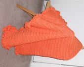 Crocheted Orange Blanket with Decorative Edging