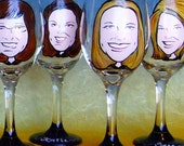 Bridesmaid Gifts - (4 Glasses) - Hand Painted Caricature Wine Glasses